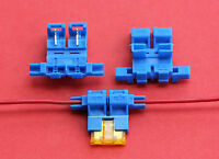 "1 x Self Stripping Standard Blade Fuse Holder ""Scotch Lock Type"" in Blue ""NEW"""