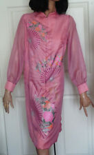 Vintage Alfred Shaheen Pink Fan and Flower Dress B38