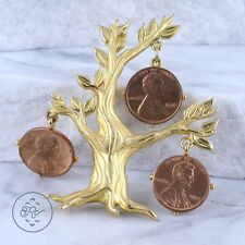 Gold Plated | JONETTE JEWELRY Tree Hanging US Pennies 37.9g | Brooch BD4779