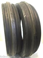 TWO New 7.50-16 Tri-Rib Front Tractor Tires WITH Tubes 8 Ply rated