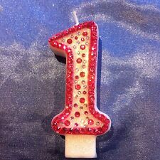 Pink 1st First Birthday Number One CANDLE Diamante Cake Topper Party