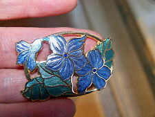 VINTAGE SIGNED FISH JEWELLERY GORGEOUS CLOISONNE ENAMEL FLOWER BROOCH SHAWL PIN