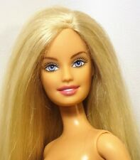 Barbie Doll Blonde Hair Grey Blue Eyes Belly button Model Bendable legs Nude