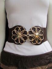 "New Women Hip Waist Thick Gold Metal Flowers Cut Fashion Brown Belt 27-37"" S M L"