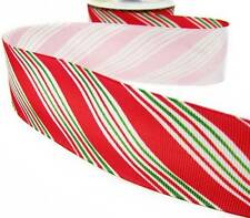 1 Yd Christmas Red and Mini Green Diagonal Candy Cane Stripe Grosgrain Ribbon 1