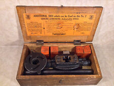 Antique Armstrong Pipe Cutter Threader with 4 Dies Great Wood Stenciled Box