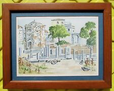 1971 Dwellings of the Aeolian Islands Watercolor - Sicily - Signed