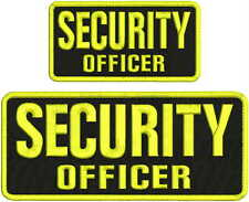 SECURITY OFFICER embroidery patches 4x10 and 3X6 hook on back BLK/YELLOW