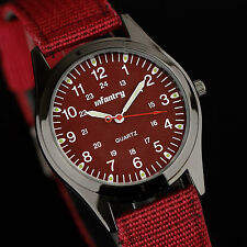 INFANTRY Mens Quartz Wrist Watch Military Army Nylon Night Vision Sport Red Dial