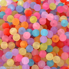"1000PCs Acrylic Spacer Beads Frosted Round Ball Mixed 6mm(2/8"")Dia."