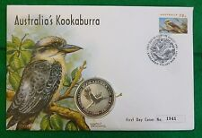 Australie 1oz .999 fine silver 1 dollar Kookaburra 1996 first day cover + coa