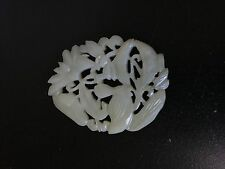 Chinese Carved Duck Lotus White Nephrite Jade Oval Amulet