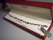 NWT  BLUE SAPPHIRES & DIAMOND ACCENT18 KT GOLD &STERLING SILVER TENNIS BRACELET