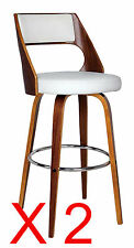 Set of 2 Oslo White Faux Leather and Timber Swivel Bar Stools  - BRAND NEW