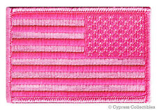 AMERICAN FLAG EMBROIDERED PATCH iron-on PINK LADIES BREAST CANCER AWARENESS LEFT