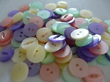 100 ASSORTED FISHEYE BABY GIRL BUTTONS SIZE 26 - 17MM PINK, LILAC, CREAM, MINT