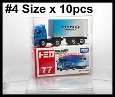TOMICA SIZE #4 PROTECTIVE CLEAR PLASTIC BOX 10 PCS DIECAST CAR NEW TOMY