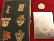 FIFA World Cup USA 1994 Soccer Collector Pins ~ Lot of 6 + Hologram Card & Box
