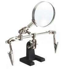 4X Soldering Iron Stand Helping Hand Magnifying Glass Magnifier Crocodile Clip