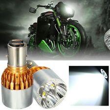 2x White LED Motor Bike/Moped Headlight Bulb Fog Light DRL 700LM BA20D 3LED