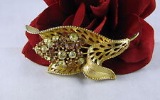 Vintage Lisner Amber Yellow Rhinestone  Pin Brooch  CAT RESCUE
