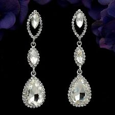 Rhodium Plated Clear Crystal Rhinestone Wedding Tear Drop Dangle Earrings 07990