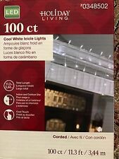 HOLIDAY LIVING CHRISTMAS DECOR 100 COUNT COOL WHITE ICICLE STRING LIGHT SET