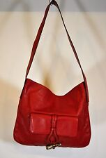 Burberry Red Leather Horn Toggle Purse Tote Shoulder Bag