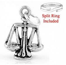 """SILVER """"SCALE OF JUSTICE WEIGHT """" CHARM WITH SPLIT RING"""