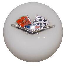 White Chevy Flags Shift Knob 3/8-16 thread U.S. Made