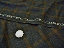 ENGLISH CASHMERE WOOL  CHECK-GREY/BROWN -JACKET/COATING FABRIC -FREE P+P
