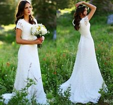 Bohemian Beach Lace Wedding Dresses Short Sleeve Crystals Beaded Bridal Gowns