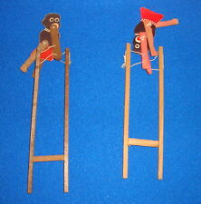 Vintage Black Americana Lot of Two Wooden Acrobat String Toys Made in Japan