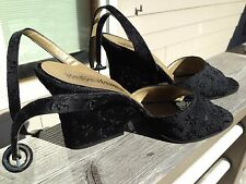 Yves Saint Laurent 9.5 M Black Open Toe Sandal, Ankle Strap Textured Asian w Box