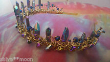 MYSTIC QUARTZ HEMATITE GOLD TIARA HEADDRESS HIPPY WEDDING HAND FASTING WOW POINT