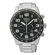Seiko New SSC229 Solar Chronograph Black Dial Stainless Steel Men's Watch