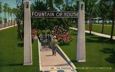 Fountain of Youth, Florida, Sunshine State, FL --- Old Vintage Linen Postcard