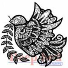 Deep Red Rubber Cling Stamp Dove Zentangle Zen Henna Olive Branch