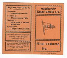 Original Ausweis Augsburg Kajak - Verein e. V. von 1938