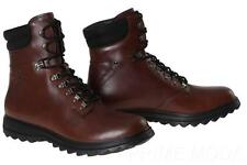 NEW PRADA MEN'S  BROWN LEATHER LOGO LACE-UP COMBAT BOOTS SHOES 11.5/12.5