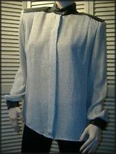 ERENA by Irene Koenig Polyester Career Blouse (6) Leather Collar Cuffs Shoulders