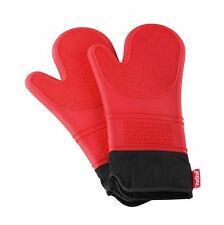 VonShef Seamless Wipe Clean Silicone Double Non-Slip Secure Grip Oven Gloves