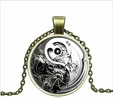 Vintage Gear Yin Yang Tai Chi Cabochon Bronze Glass Chain Pendant Necklace W149