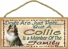 "Dogs Are Just Pets But A Collie Is Part Of The Family Dog Sign Plaque 5""x10"""