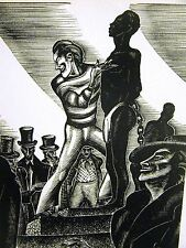 Lynd Ward 1930 SLAVE in CHAINS at AUCTION TRADER SLAVERY Art Deco Print Matted