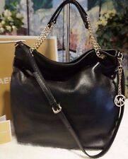 NWT MICHAEL Michael Kor Jet Set CHAIN Large Leather Tote Shoulder Bag BLACK $298