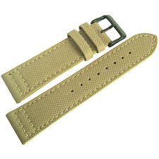 22mm EULIT Tan Khaki Sand Canvas PVD Buckle Made in Germany Watch Band Strap Men
