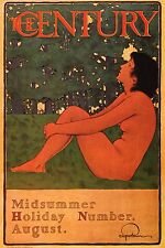 """MAXFIELD PARRISH BOOK PRINT""""MIDSUMMER HOLIDAY"""" NUDE WOMAN COVER CENTURY MAG."""
