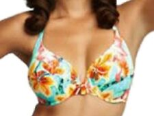 New Hawaii Print Bikini Bra Top UK 34D Fantasie Hula Halterneck Turquoise Floral