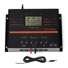 Poweful 80A MPPT Solar Panel Charge Controller 1920W 24V + Extension Cable US TR